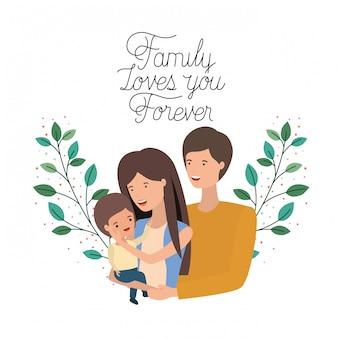 Szczęśliwy dzień rodziny etykieta ikona na białym tle