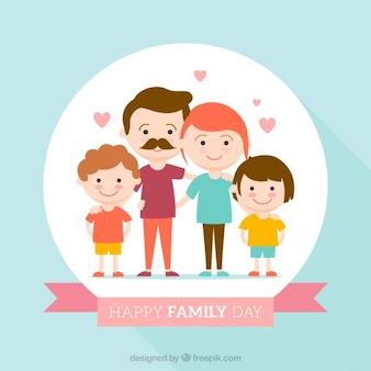 Szczęśliwy dzień rodziny płaska tle