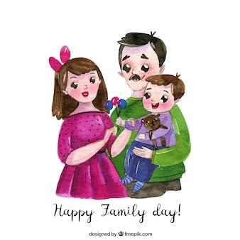 Szczęśliwy dzień rodziny w stylu przypominającym akwarele