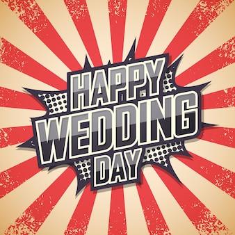 Szczęśliwy dzień ślubu, plakat retro.