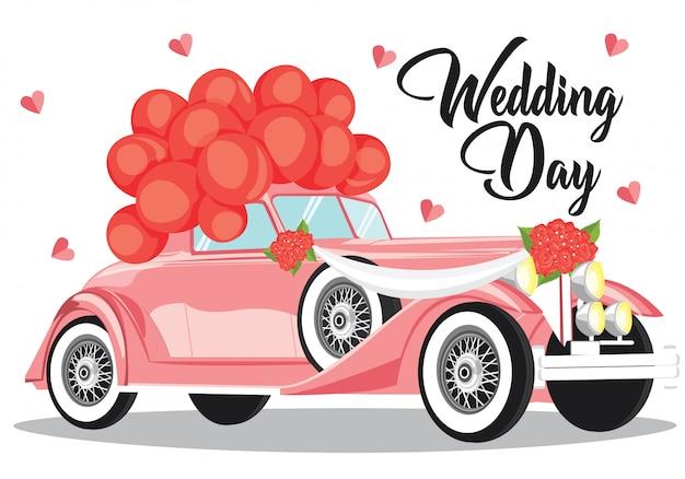 Szczęśliwy dzień ślubu z weselnym samochodem i balonem