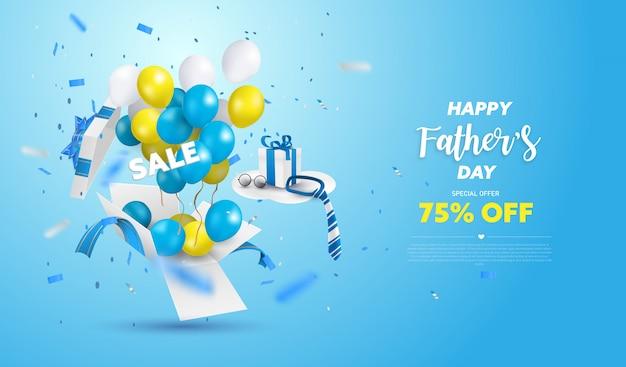 Szczęśliwy dzień sprzedaży banner ojca lub promocja na niebieskim tle. pudełko niespodzianki otwarte żółtym, białym i niebieskim balonem.