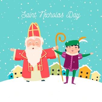 Szczęśliwy dzień świętego mikołaja i elfa