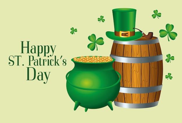 Szczęśliwy dzień świętego patryka z ilustracją beczki piwa i kociołka