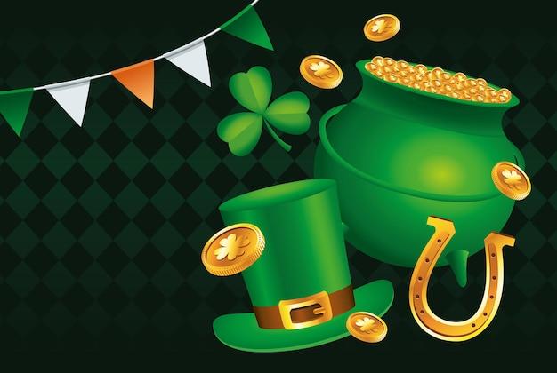 Szczęśliwy dzień świętego patryka z ilustracją kotła skarbów i czapeczki