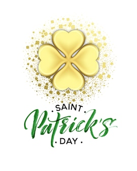 Szczęśliwy dzień świętego patryka z pozdrowieniami z tekstem i liśćmi koniczyny złotego brokatu. ilustracja