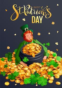 Szczęśliwy dzień świętego patryka z życzeniami. czerwony gnom i garnek złota