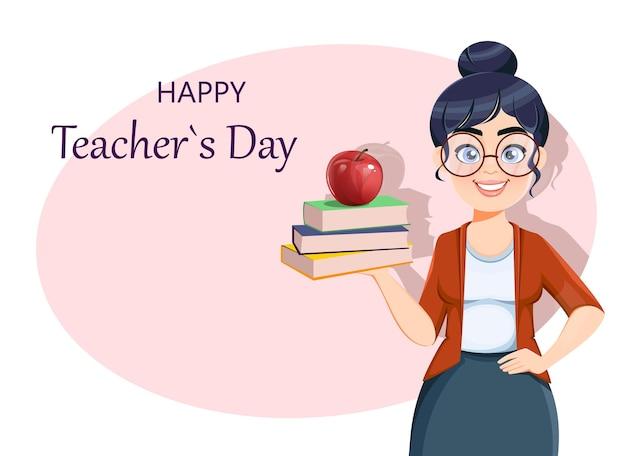 Szczęśliwy dzień techer kartkę z życzeniami śliczna nauczycielka postać z kreskówki trzymająca książki i jabłko