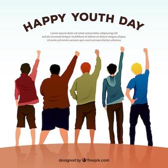 Szczęśliwy dzień tle młodzieży z przyjaciółmi