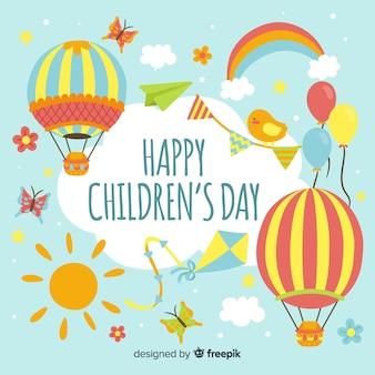 Szczęśliwy dzień tło dla dzieci w płaski kształt