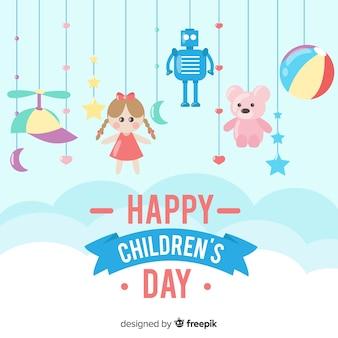 Szczęśliwy dzień tło dla dzieci z zabawkami