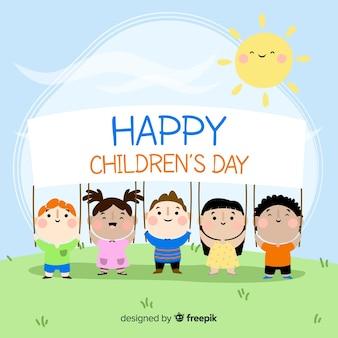 Szczęśliwy dzień tło dla dzieci