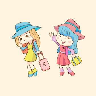 Szczęśliwy dzień turystyki z cute girl