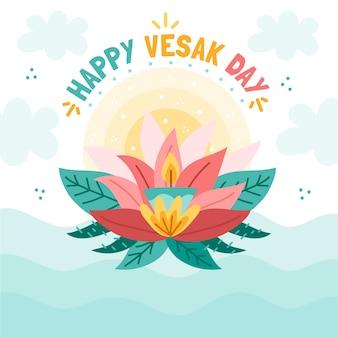 Szczęśliwy dzień vesak ze świecą i lotosu
