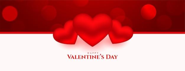 Szczęśliwy dzień walentynki banner 3d serca piękny projekt