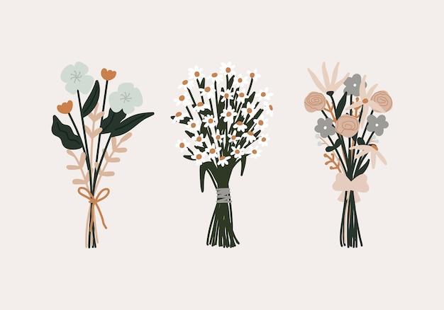 Szczęśliwy dzień walentynki ślub kwitnący bukiet brunch kwiatów ze wstążką i kwiat rumianku lub biała stokrotka z ilustracji liści.