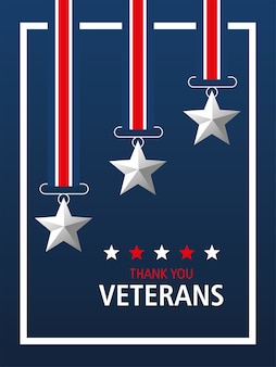 Szczęśliwy dzień weteranów, dziękuję karty, medal gwiazdy symbol patriotyczny