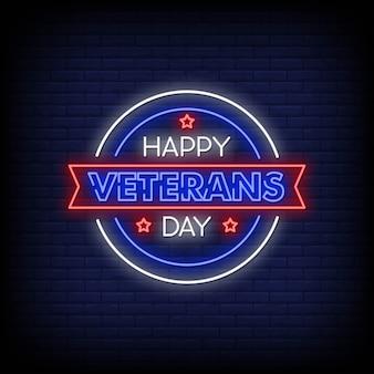 Szczęśliwy dzień weteranów neon styl tekstu
