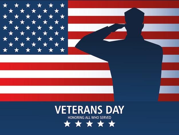Szczęśliwy dzień weteranów, pozdrowienie żołnierz pozdrowienie i pomnik flagi usa
