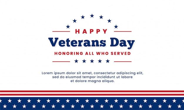 Szczęśliwy dzień weteranów uhonorowanie wszystkich, którzy służyli, szablon