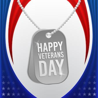 Szczęśliwy dzień weteranów z wojskowym naszyjnikiem