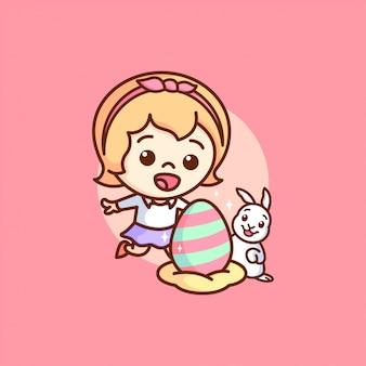 Szczęśliwy dzień wielkanocny dziewczyna i królik znalazła kolorowaną ilustrację jaj.