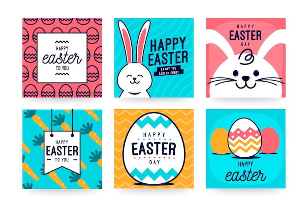 Szczęśliwy dzień wielkanocny mediów społecznościowych post z jajkami i biały królik