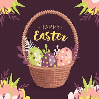 Szczęśliwy dzień wielkanocny z kolorowymi jajkami w koszyku