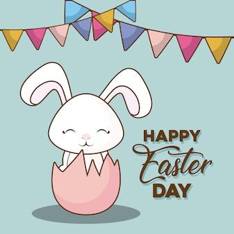 Szczęśliwy dzień wielkanocny z ozdobnymi proporczyki i złamane jajko z ładny królik ikona