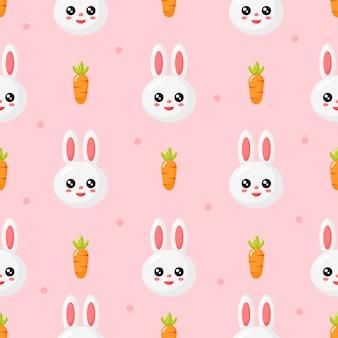 Szczęśliwy dzień wielkanocy ładny wzór. królik i marchewka.