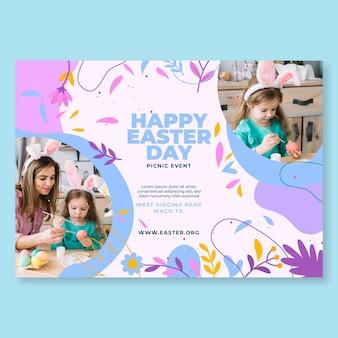 Szczęśliwy Dzień Wielkanocy Poziome Pozdrowienie Szablon Darmowych Wektorów