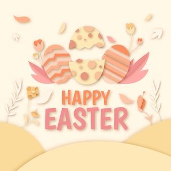 Szczęśliwy dzień wielkanocy w stylu papieru z jajkami i kwiatami