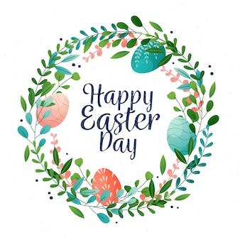 Szczęśliwy dzień wielkanocy z kolorowymi jajkami i wieniec