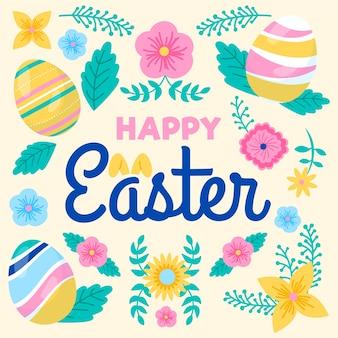 Szczęśliwy dzień wielkanocy z kolorowymi kwiatami i jajkami