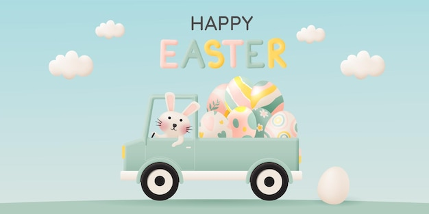 Szczęśliwy dzień wielkanocy z uroczym królikiem prowadzącym samochód
