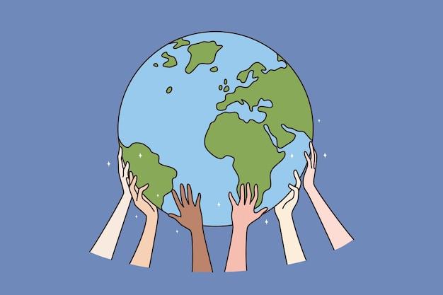 Szczęśliwy dzień ziemi i koncepcja ekologia. ludzkie ręce trzymające chroniąc naszą planetę ziemię, ratując ją, czyniąc codzienną ilustrację wektorową dnia ziemi