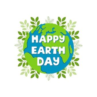 Szczęśliwy dzień ziemi jasna kolorowa ilustracja z napisem i roślinami na białym tle