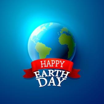 Szczęśliwy dzień ziemi na niebieskim tle. ilustracja wektorowa