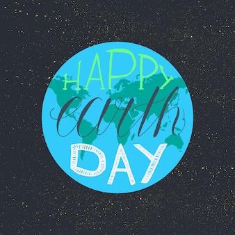 Szczęśliwy dzień ziemi napis ilustracja