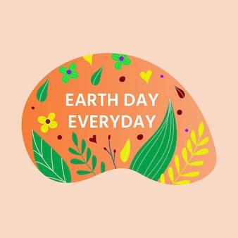 Szczęśliwy dzień ziemi pocztówka z zielonym liściem, kwiatami, kwiatami. koncepcja ekologii przyjaznej dla środowiska. światowy dzień środowiska tło. ocal planetę.