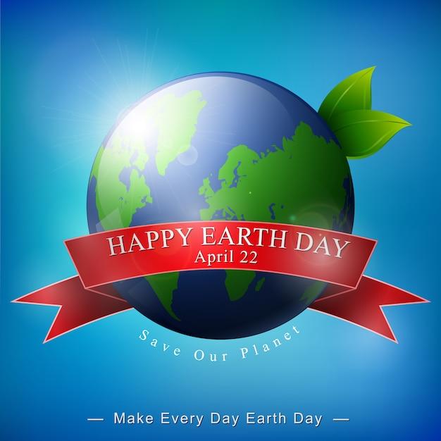 Szczęśliwy dzień ziemi transparent na niebieskim tle