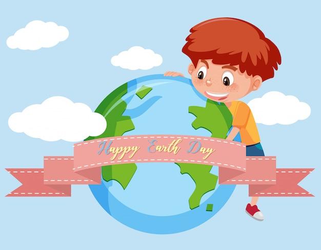 Szczęśliwy dzień ziemi ze szczęśliwym chłopcem na niebie