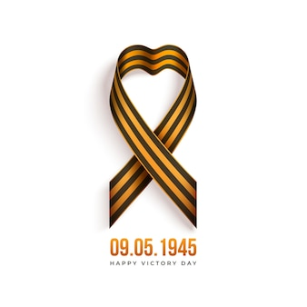 Szczęśliwy dzień zwycięstwa rosyjskie wakacje z czarno-pomarańczową wstążką świętego jerzego na białym tle