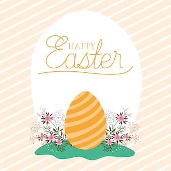 Szczęśliwy easter jajko z kwiatami nad pasiastym tło wektorem