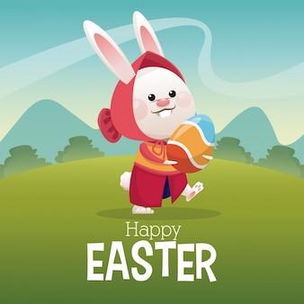 Szczęśliwy easter karcianej dziewczyny królika jajka krajobraz
