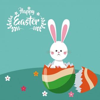 Szczęśliwy easter królik łamający jajeczny świętowanie
