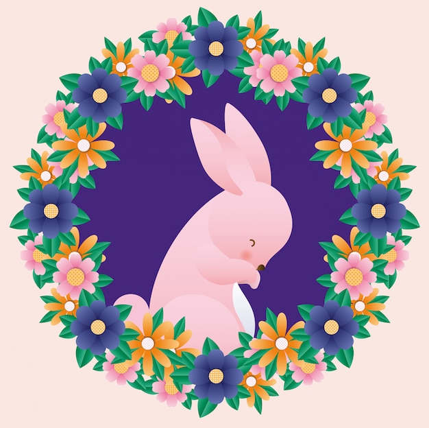 Szczęśliwy easter królik wśrodku korony kwitnie wektor