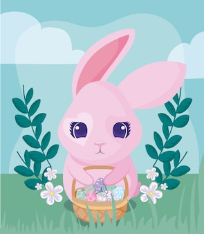 Szczęśliwy easter królik z koszem jajka