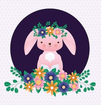 Szczęśliwy easter królik z kwiatami nad śpiczastym tło wektorem