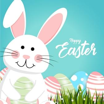 Szczęśliwy easter królika biały śliczny królik